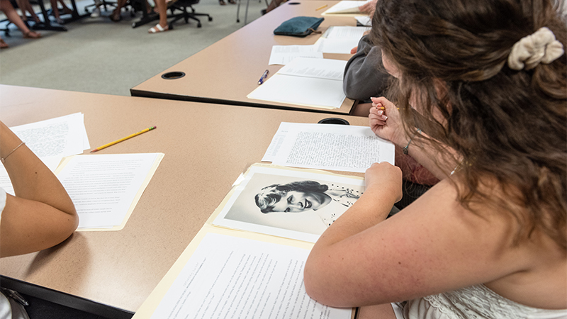 Students studying Sylvia Plath in class