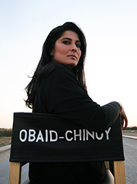 Sharmeen Obaid Chinoy in a directors chair