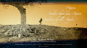 Civil War soldier standing under tree near grave at sunset in field