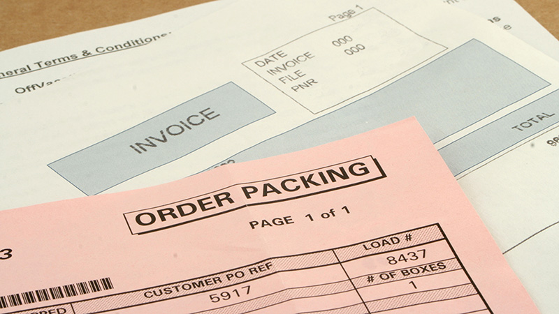 Image of an order packing slip and invoice
