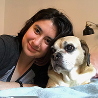 Headshot of Phoebe Rendon-Nissenbaum '22 with her dog