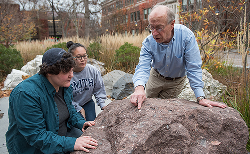 Professor John Brady looking at the Rock Park with students