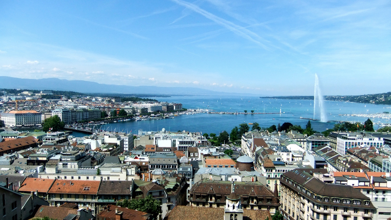 View of a Geneva waterfront