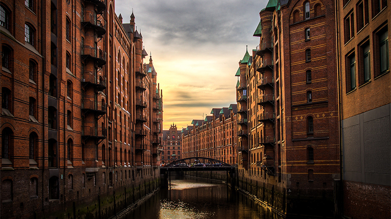 Photo of river and buildings in Hamburg, Germany