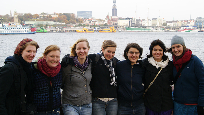 Group of students posing together in Hamburg