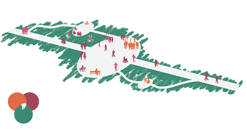 Graphic representation of a section of the college's pathways and landscape
