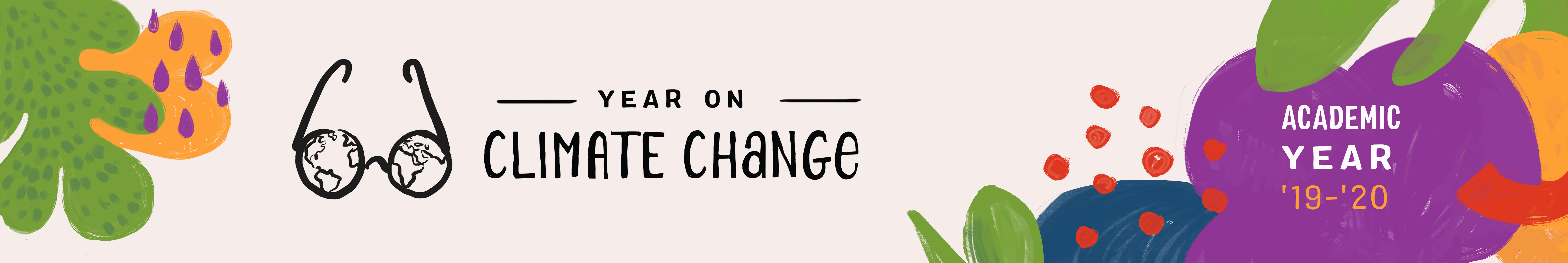 Graphic logo for Year on Climate Change Academic Year 2019-20