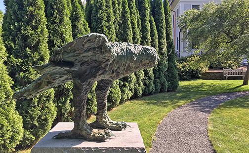 Baskin owl sculpture in Capen Garden