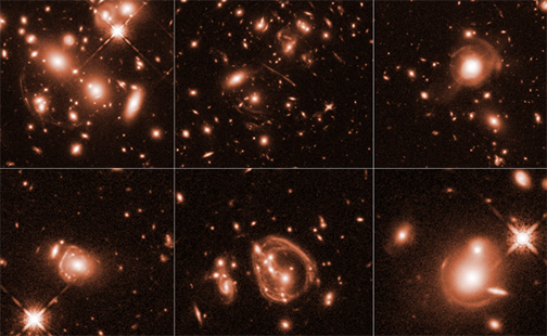 NASA space telescope image of six of the brightest galaxies
