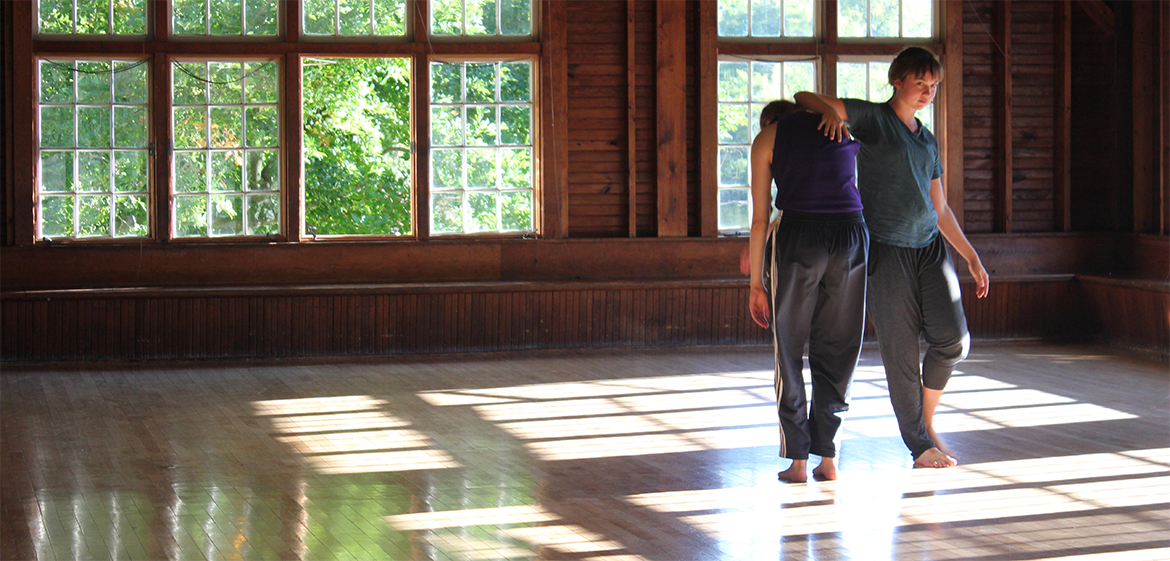 Two dancers in the Crew House studio