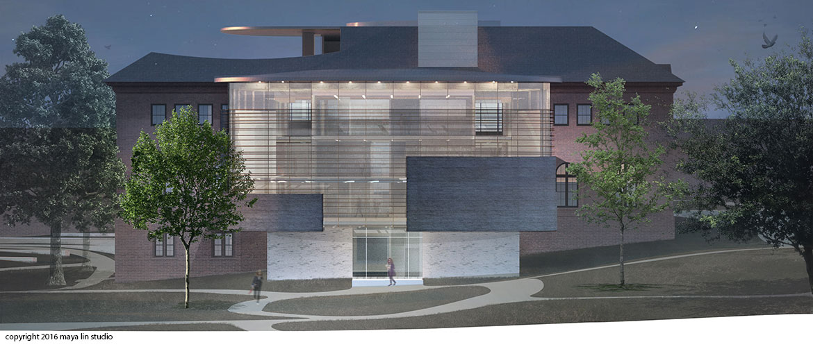 Maya Lin design for New Neilson Library south elevation at night