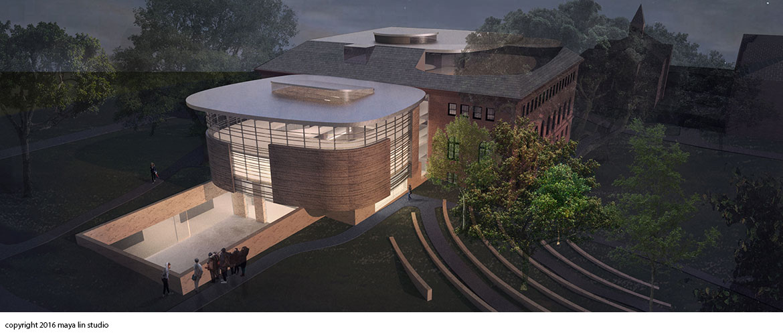 Maya Lin design for New Neilson Library sunken courtyard at night