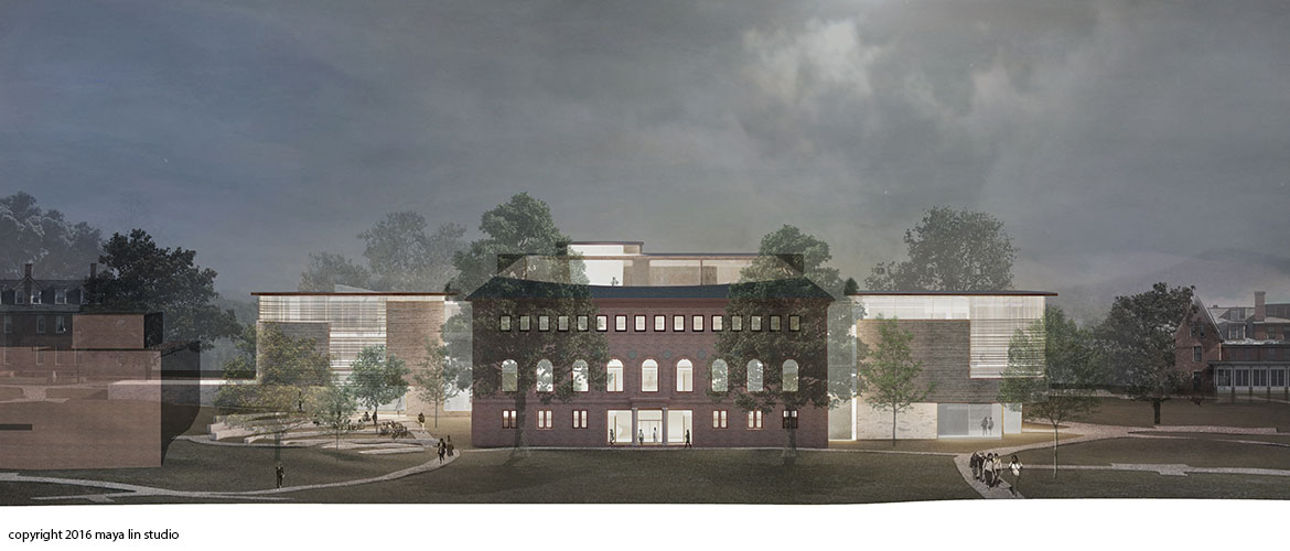 Maya Lin design for New Neilson Library west elevation at night