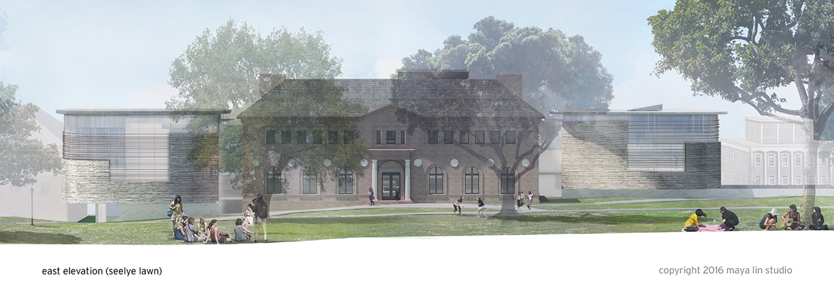 Rendering of Neilson Library from Seelye Lawn