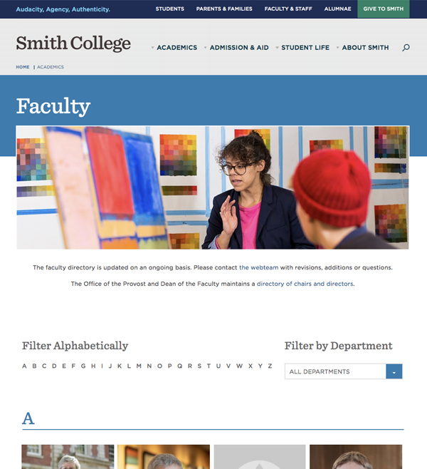 Faculty page layout
