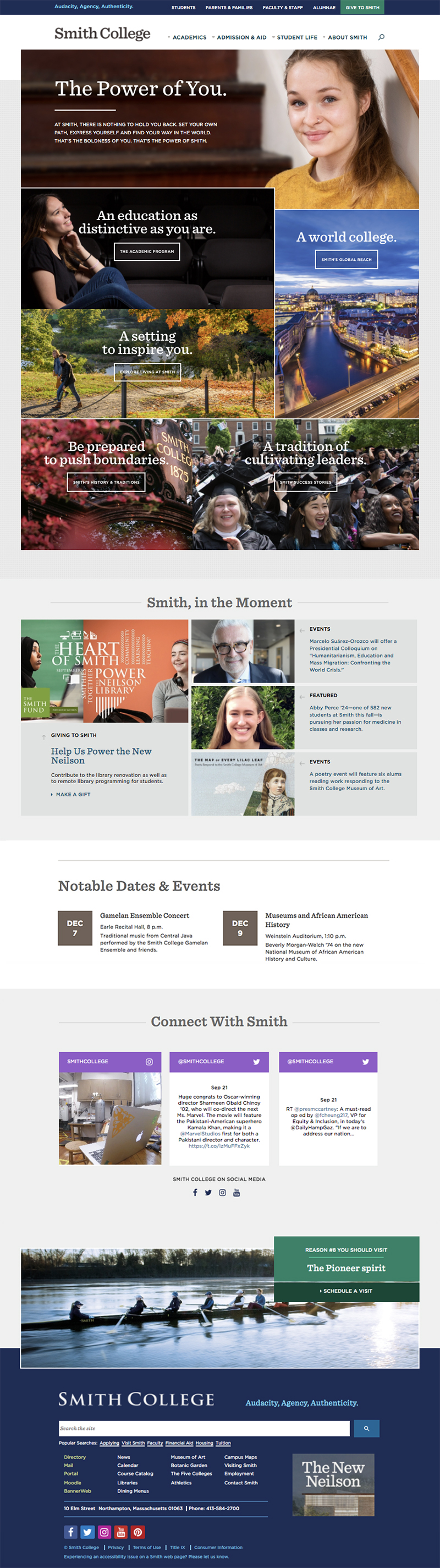 Image of homepage layout