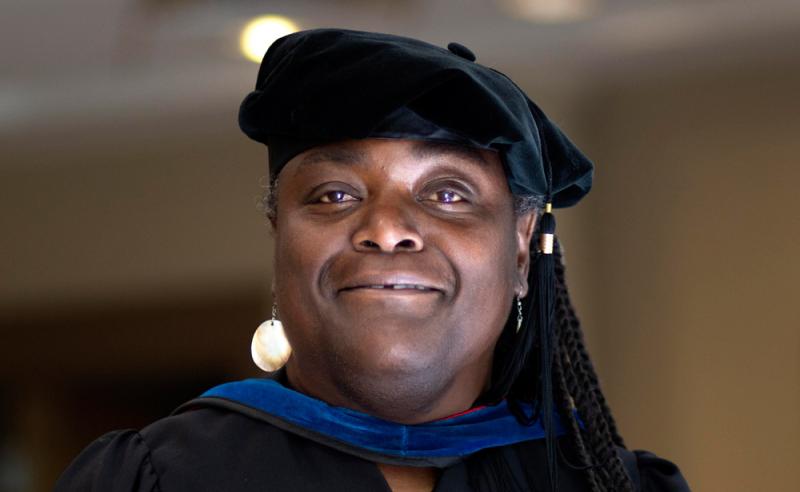 Commencement speaker Dottie Morris in academic regalia