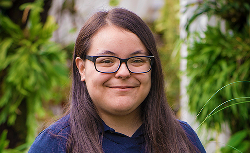Karime Gutierrez in the Lyman Conservatory