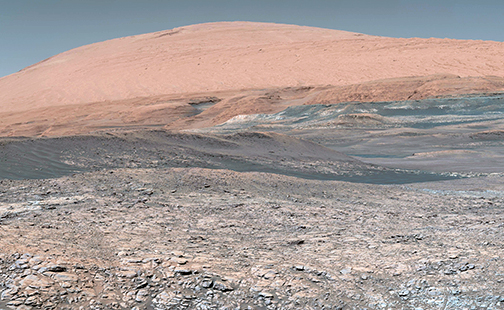 Taken by the Mars Curiosity rover, looking uphill at Mount Sharp. Image credit: ASA/JPL-Caltech/MSSS