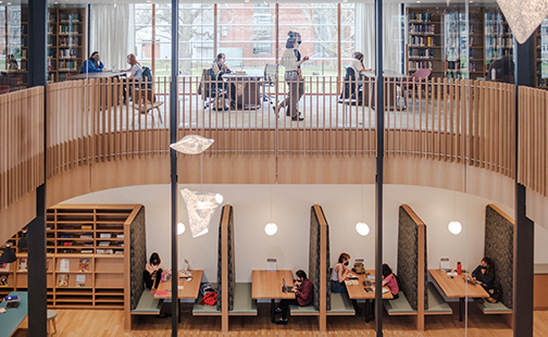 Interior shot of students inside Neilson on two floors