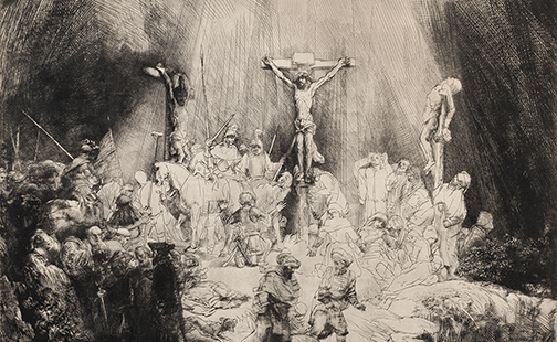 Detail of Rembrandt's drawing of Christ Crucified Between the Two Thieves