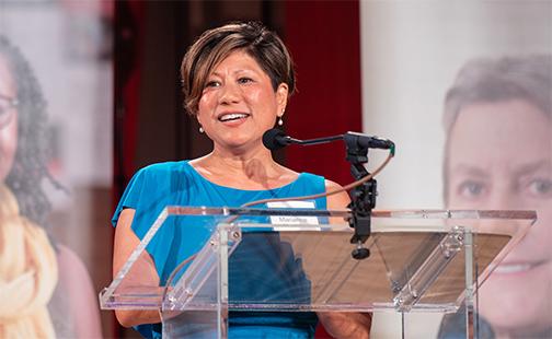 Marianne Yoshioka speaks at a centennial celebration for SSW