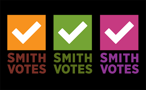 Three logos for Smith Votes in gold, green and pink