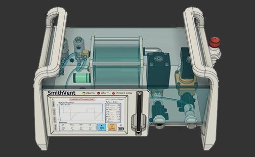 Graphic image of the Smith-designed COVID-19 ventilator