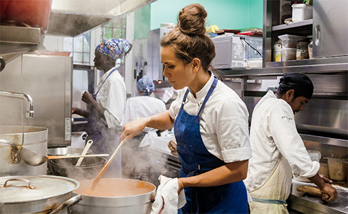 Alice Delcourt in her kitchen