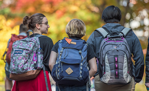 Three students with backpacks walking away from the camera