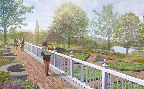 An architect's drawing displays features of the Happy Chace Garden adjacent to the President's House.