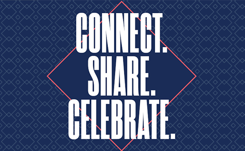 Virtual Reunion graphic: Connect, Share, Celebrate