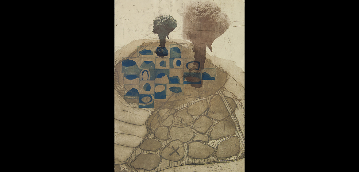 Kathryn Shoro, 52 Miserable, Small Volcanoes Collagraph, etching, lithography