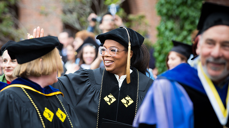 Oprah Winfrey in the Commencement Procession