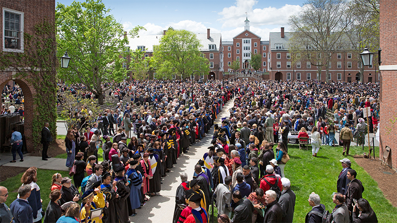Students entering the Quadrangle for Commencement