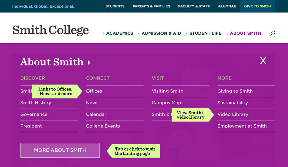 A screen shot showing links to News, Offices and Video