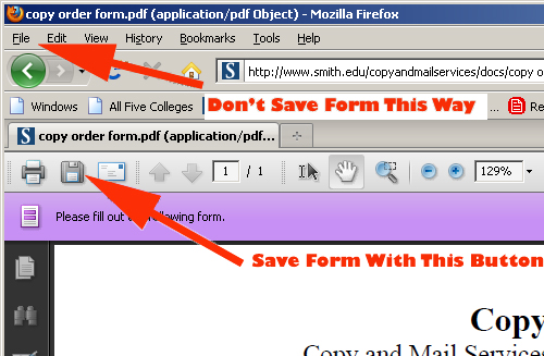 Screen shot of instructions for saving forms