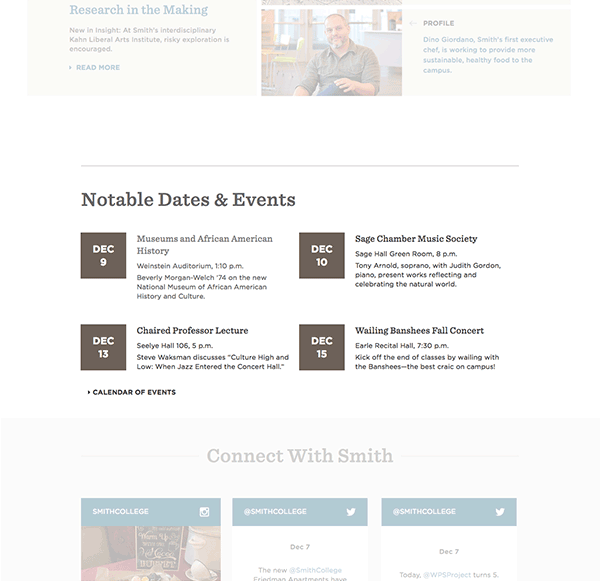Screen shot of the events calendar module