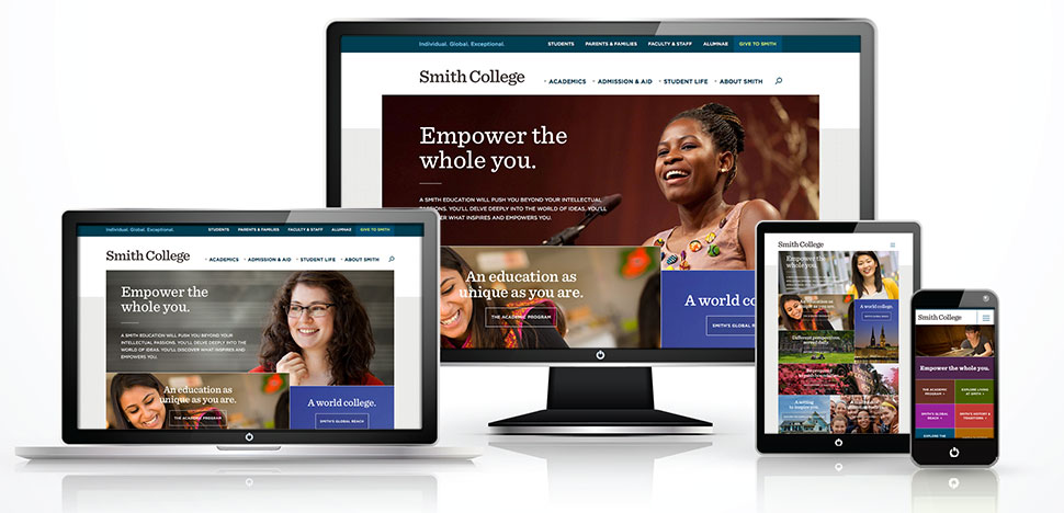 A graphic showing the Smith home page on desktop, notebook, tablet and phone screens