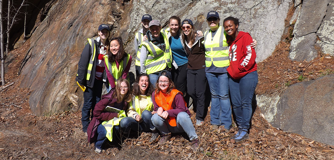 Structural Geology students in front of the Route 9 boudins in Cummington