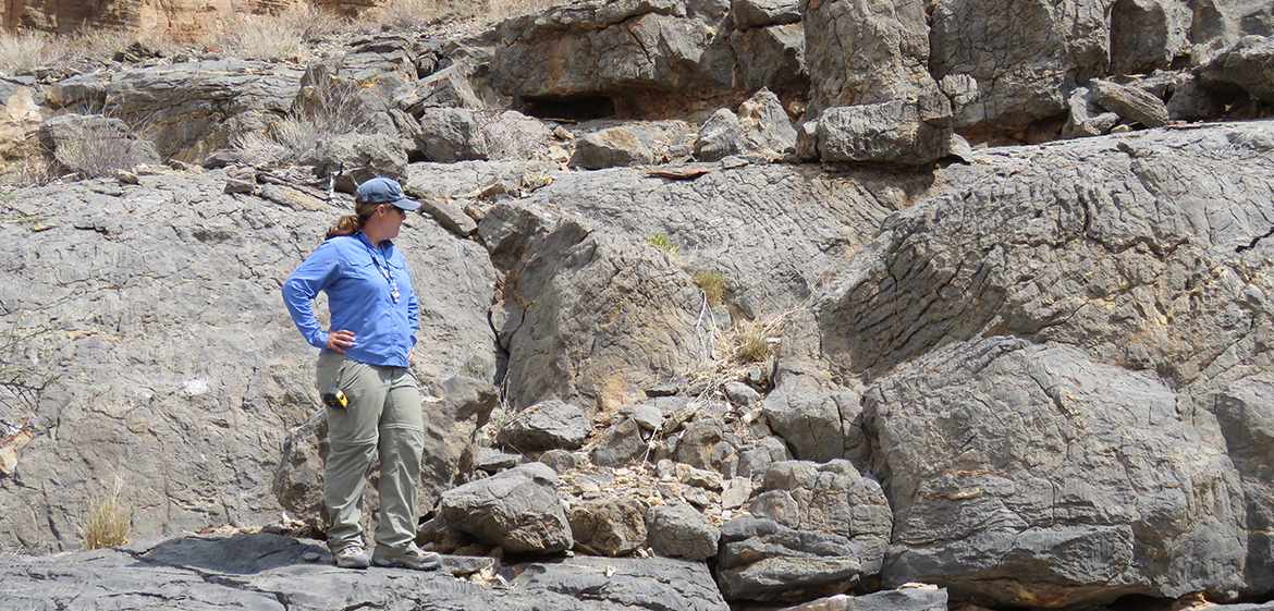 Professor Pruss in front of columnar stromatolites of the Edicaran Nama Group, southern Namibia