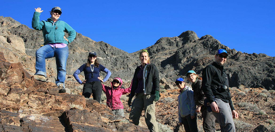 Field Studies students and Professors Pruss and Loveless on Cambrian carbonates at Eagle Mountain near Death Valley, CA