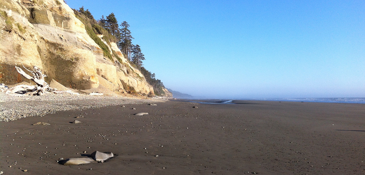 Professor Jack Loveless studies the connection between these coastal cliffs and subduction zone earthquake processes on the Olympic Peninsula in Washington State