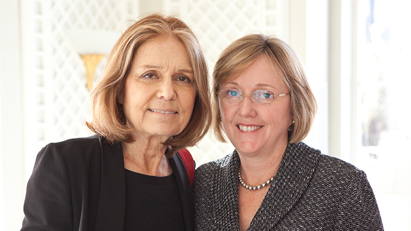 Gloria Steinem and Smith College President Kathleen McCartney