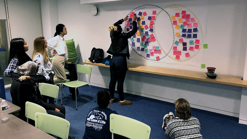 Students organizing post-its on the wall as part of a LEAD Scholars Program workshop