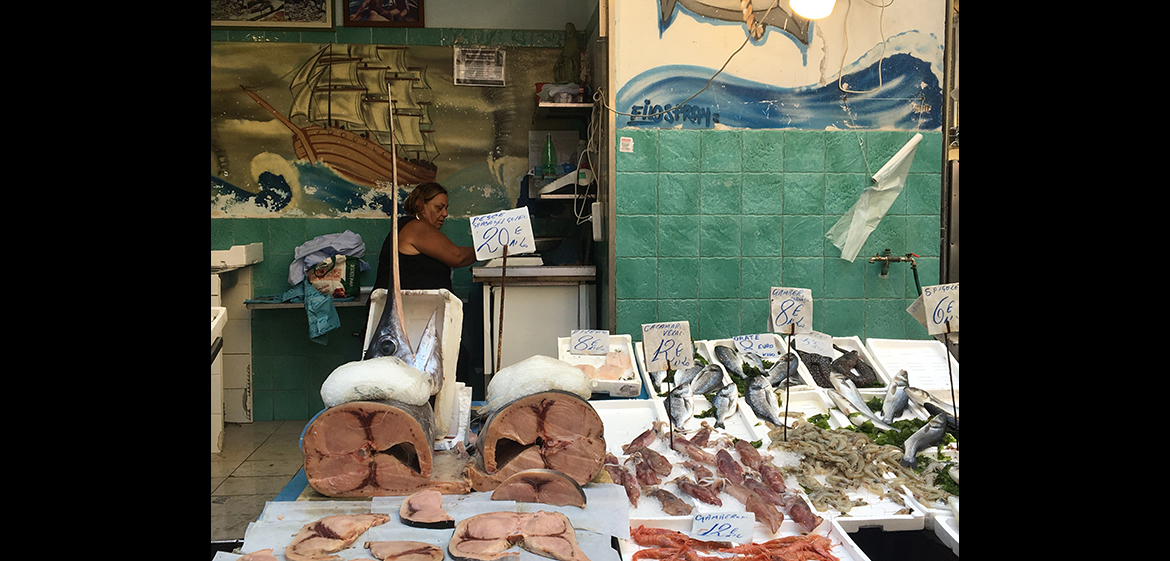 Photo of a fish market in Italy.