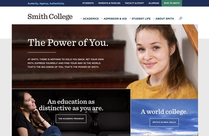 Screen shot of the Smith home page