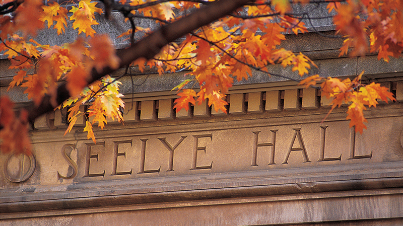 Seelye Hall detail with autumn leaves
