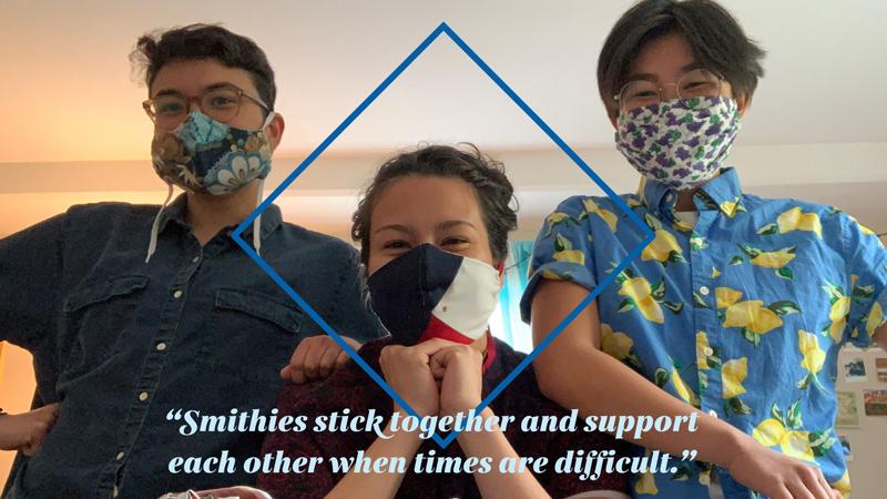 Amelia Windorski and two friends wearing masks