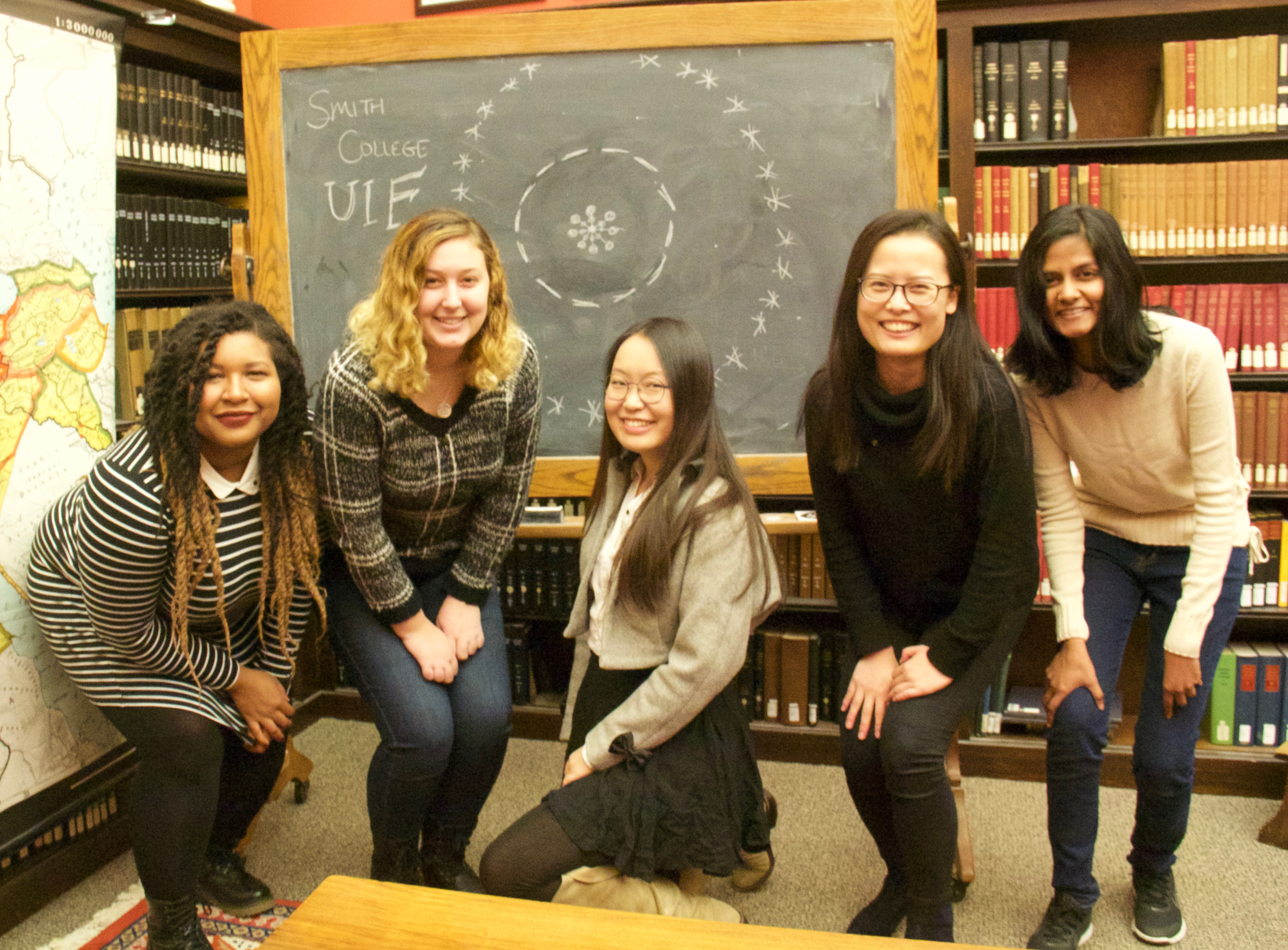 From left to right: University Innovation Fellows - Jessica Innis, Amanda Lavond, Yi Wang, Lingxuan Li, and Mandira Marambe.
